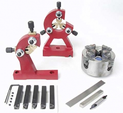 Mini lathe accessories, including steady rests, faceplates, live centers, lathe chucks, and knurlers