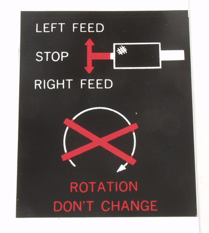 Label, Left Feed/Stop/Right Feed