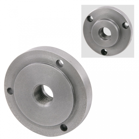 "Chuck Adapter, 1""-10 Thread 4"" Diameter, 3 Holes"