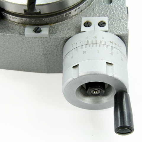 Four inch horizontal/vertical rotary table; dial closeup