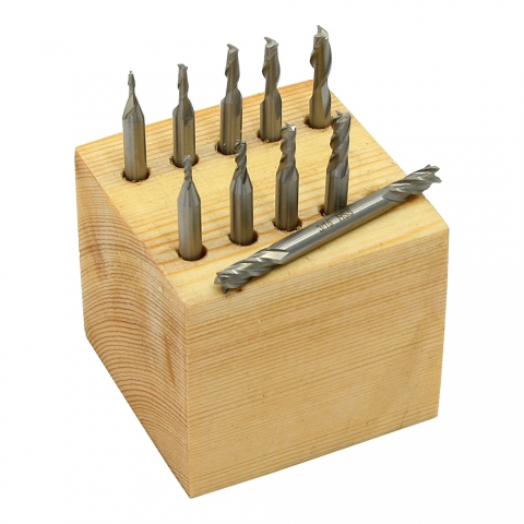 End Mill Set, Miniature, 10 pieces 2 & 4 Flute, HSS