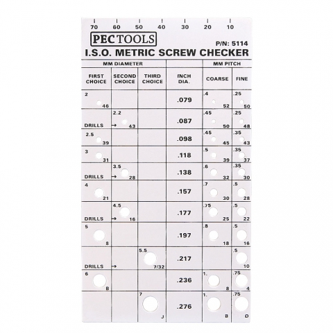 Screw Checker, Small Metric, PEC