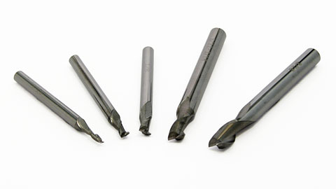 End Mill Set, Miniature, 5 pieces 2 Flute