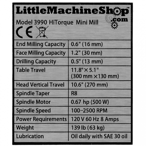 Label, Front Panel, HiTorque Solid Column Mini Mill
