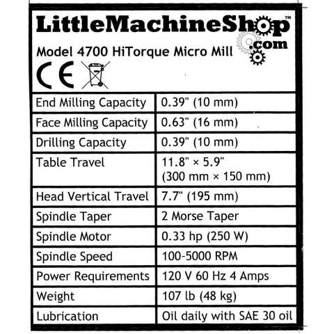 Label, Front Panel, HiTorque Micro Mill, 2MT