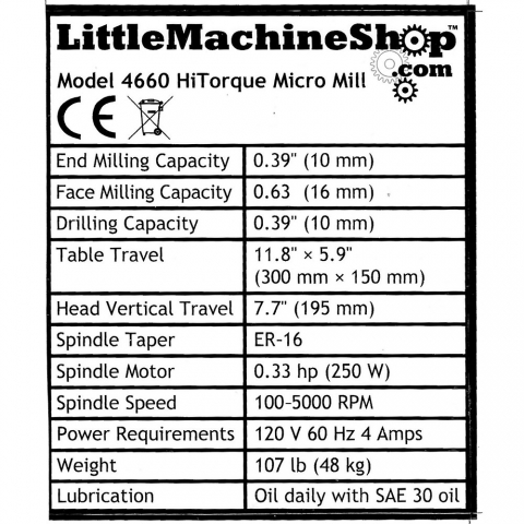 Label, Front Panel, HiTorque Micro Mill, ER-16