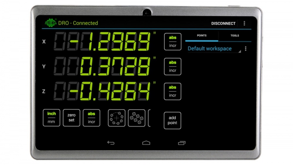Android Tablet, Bluetooth DRO Readout